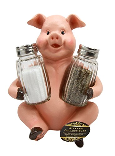 Countryside Farmland Bacon Porky Pig Swine Belly Hugging Glass Salt Pepper Spices Holder Figurine Sculpture Kitchen Hosting Decor
