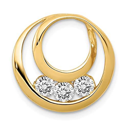 - Bonyak Jewelry 14k AA 3.2mm Diamond Three Stone Circles Chain Slide in 14k Yellow Gold