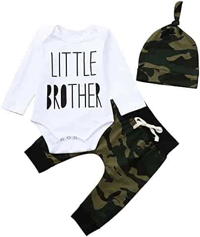 ccf9be3cc7b0 Newborn Toddler Baby Boys Letter Romper Jumpsuit Tops +Camouflage Long  Pants +Hat Outfits Set