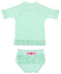 RuffleButts Infant / Toddler Girls Mint Seersucker Ruffled Rash Guard Set - Mint Seersucker - 12-18m
