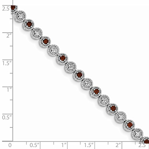ICE CARATS 925 Sterling Silver Red Garnet Diamond Bracelet 7 Inch Gemstone Fine Jewelry Gift Set For Women Heart by ICE CARATS (Image #3)