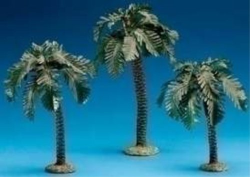 - 3 Piece Set Palm Trees Single Trunk 5 Scale Small/Med/Tall Font 3 Piece Set 6.5 - 9.5H by Roman by Fontanini