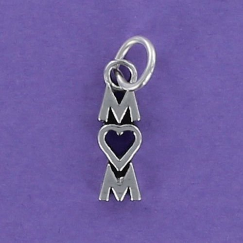 MOM Charm Sterling Silver 925 for Bracelet Letters Heart Mother Mommy Vertical - Jewelry Accessories Key Chain Bracelets Crafting Bracelet Necklace Pendants (Vertical Mom Pendant)