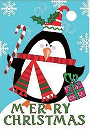 G128 - Christmas Garden Flag, Christmas and Winter Themed Decorations -  Cute Penguin with Merry Christmas Quote, Rustic Holiday Seasonal Outdoor  Flag ...