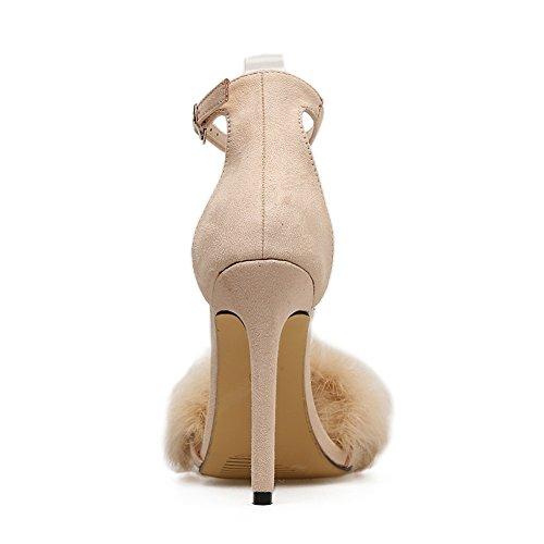Altos SASA Sandalias 1 Nuevos Verano Rhinestone Zapatos Hebilla una Piel Stiletto Conejo de Mujer de Tacones Rhinestone con de TqrgwTR