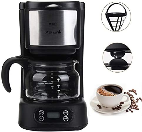 Drip Coffee Maker, Automatic Programmable Coffee Brewer Machines,Simple Brew Single Serve to 5 Cup Coffee Making with Glass Carafe,Auto-shut off,Black