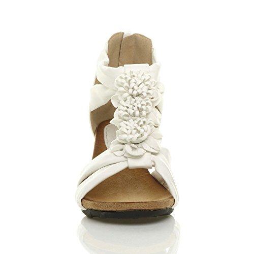 Compensées Fleur Femmes bar Bout Lanières Mi Ouvert T Blanc Sandale Mat Pointure Talon qnqrHwB10E