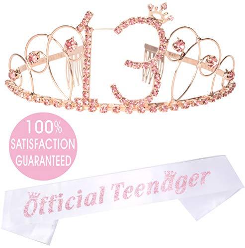 (13th Birthday Tiara and Sash Pink | Happy 13th Birthday Party Supplies | Official Teenager Satin Sash and Crystal Tiara Birthday Crown for 13th Birthday Party Supplies and Decorations (Crown))