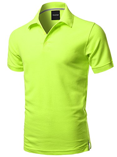 Solid Short Sleeves Basic Premium Quality Side Slit Polo Shirt Neon Yellow XL]()