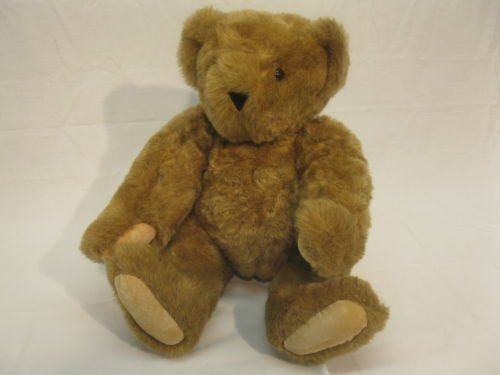 16 Inch Brown Teddy Bear (Vintage Vermont Teddy Bear Handmade Plush 16 Jointed Brown Stuffed Animal)