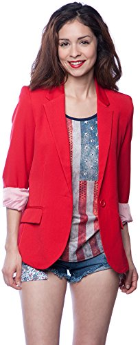 Ambiance Cuffed Sleeve One Button Boyfriend Polyester Blazer for Women Small Red