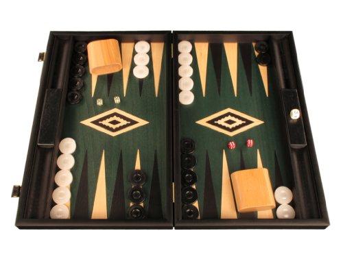 Elegant Wood Backgammon Set - Board Game - Large, Black / Green