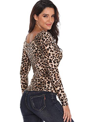 Donna Bassa Vita Maniche Da A Leopardo Top Scollo Lunghe Sexy Corte Camice V Camicette Stampa Lunga E zvPt1t