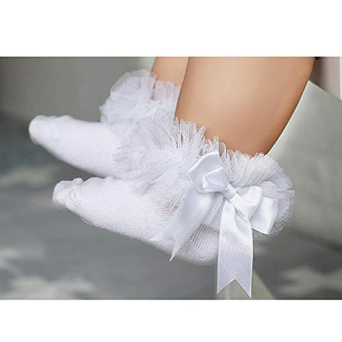 CUSHY y Girls Lace Ruffle Frilly Mesh Ankle Socks Bowknot Princess Cotton Short Socks Black