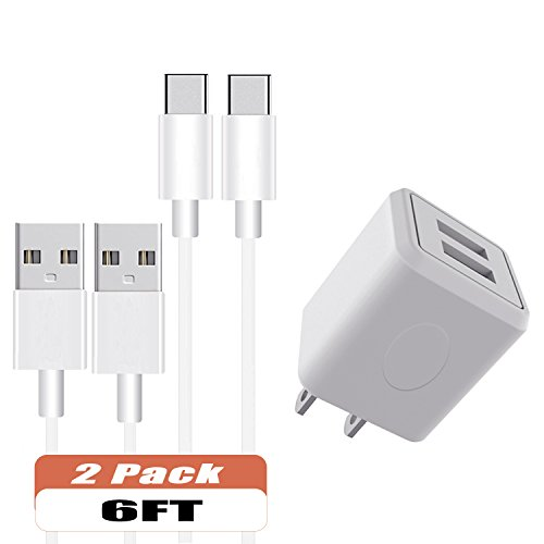 Outlet Metal Power Seven Strip (Wall Charger, Asstar Dual Port Travel Wall Power Adapter with Type C Cable 2Pcs 6ft Data Charge Sync Cable for Samsung Galaxy Note 8,S8,S8 Plus, Google Pixel, Nexus 6P 5X)