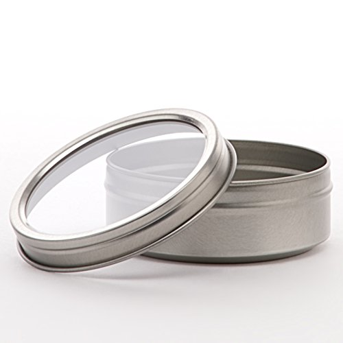 (24ea - 2 Oz Window Shallow Round Steel Stckbl Tin Can-Pk | Diameter - 2 1/2