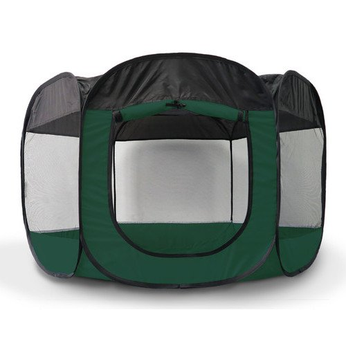 39x23.5 Inch Hunter Green Small Portable Pet Play-pen, Open-air Mesh Screened Windows Deluxe 360 Degree View Zippered Side Panel Entrance Removable Top 6 Side Panels Tie-up, Durable Metal Fabric by PH (Image #2)