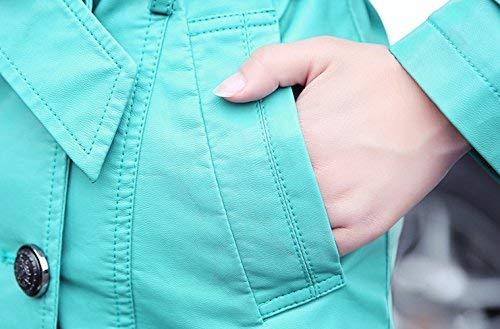 Cappotto Blau Similpelle Trench Lunghe Di Tempo Bavero Autunno Breasted Transizione Lunga Giacca Outwear Fit Maniche In Puro Mode Libero Donna Gesteppt Double Marca Colore Primaverile Elegante ABx7vdnA4q