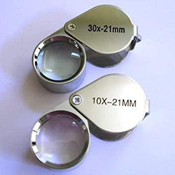 2pcs Plastic Jeweler/'s Loupe 5x 10x Magnification Magnifying Eye Magnifier