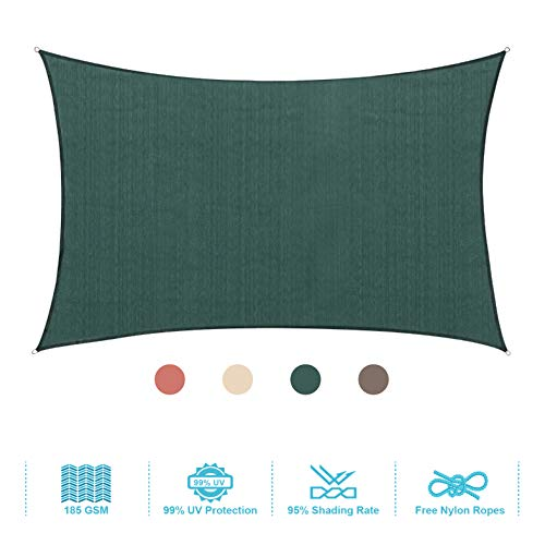 PHI VILLA Sun Shade Sail Rectangle 12 x16 Dark Green Patio Canopy Cover – UV Bloack – for Patio, Garden, Yard, Pergola