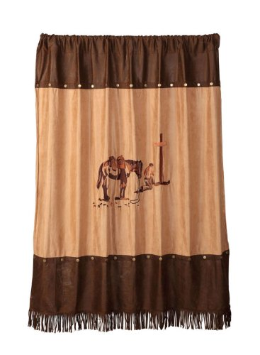 Western Cowboy Praying Cowboy Fabric Shower Curtain