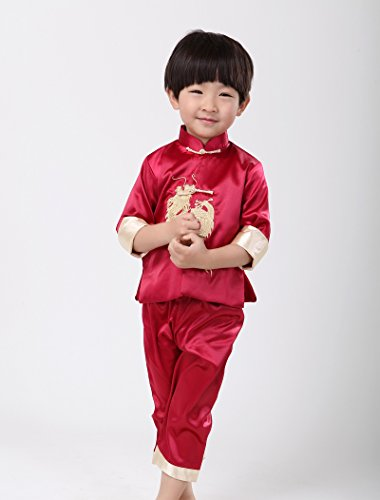De fu Acvip Chinois Rouge Tang chemise Veste Costume Enfant Kung blouse Garçon SwSOgcqz