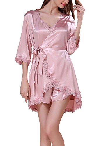 4PING Women's Satin Sleepwear V-neck Lace Trim Short Summer Pajama Set and Robe Three Piece Set Beige M by 4PING