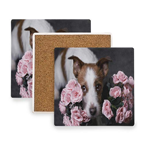 (A Dog With Flowers Coasters, Protect Your Furniture from Stains,Coffee, Cork Coasters Funny Housewarming Gift,Square Cup Mat Pad for Home, Kitchen or Bar Set of)