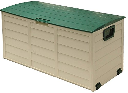 Outside Patio Box, Beige-Green Colour, Plastic Material, Waterproof Cap, Wheels For Easy Transportation, Easy Assembly And Storage, Sturdy And Durable Construction, 60 Gallons Capacity & E-Book by S.N