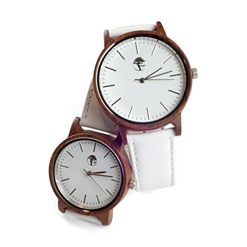 Viable Harvest Real Sandalwood Watch White Face and Leather Band by Viable Harvest