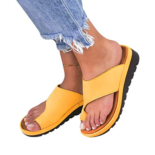 softome Women's Wedge Slides Sandals Flip Flops Toe Ring Side Cutout Slippers Yellow (Leather Wedges Denim)