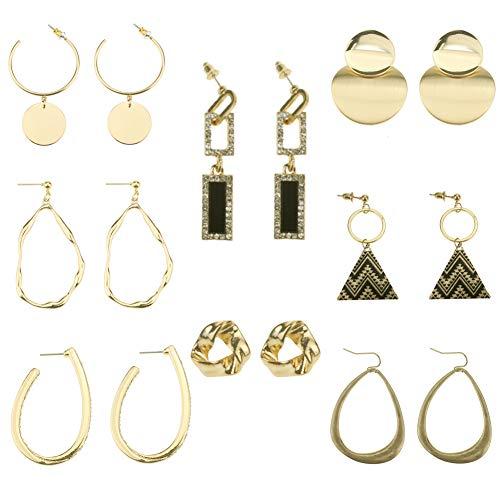 Coolcoco Fashion Luxury Metal Dangle Tassle Gold Earrings for Women Girls Lady (8 Pairs/Set)