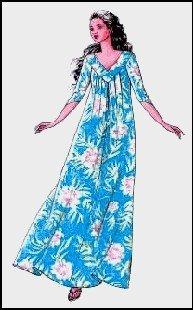Hawaiian V Neck Pleated Muumuu Dress Sewing Pattern #215
