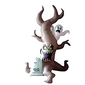 Halloween Airblown Inflatable Surprise Decoration, Outdoor Lighted Freestanding Grave Scene with Tree Monster and Ghost & E-Book