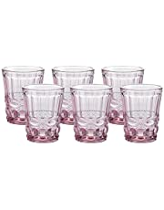 Gala Houseware Colored Water Glasses 6-Piece Set, 7.5 oz Premium Heavy Whiskey/Highball Tumbler, Solid Glass Color (Pink)
