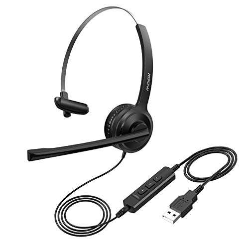 Mpow Single-Sided USB Headset with Microphone, Over-The-Head Computer Headphone for PC, 270 Degree Boom Mic for Right/Left Ear, Comfort-fit Call Center Headsets with in-Cord Volume Control (Computer Headphones Microphone)