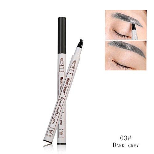 Music Flower Liquid Tattoo Eyebrow Pen With Four Tips Brow Pen, Long-lasting Waterproof Brow Gel for Eyes Makeup-DARK GREY