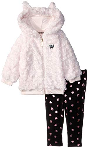 (Juicy Couture Baby Girls 2 Pieces Jacket Set-Faux Fur, Peach/Brown Print)