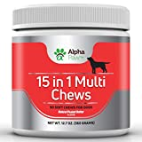 15 in 1 Multivitamin for dogs with Glucosamine & Chondroitin + MSM + Probiotics - Joint & Immune Health, Anti-Inflammatory, Puppy Vitamins, Senior Dog Vitamins - 360 gm approx. 90 Soft Chews