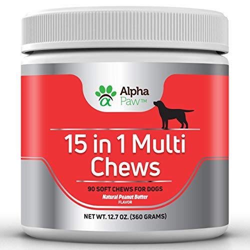 (15 in 1 Multivitamin for Dogs with Glucosamine, Chondroitin, MSM, Probiotics - Joint and Immune Health, Anti-Inflammatory, Puppy Vitamins, Senior Dog Vitamins - 360 Grams Approx. 90 Soft Chews)