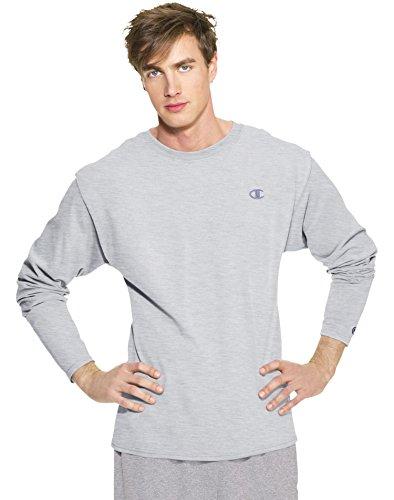 Champion Men's Long Sleeve T-Shirt, Oxford Gray, Large - Oxford Gray T-shirt