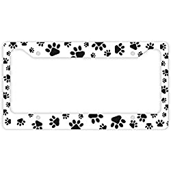 Cat or Dog License Plate Frame Pawprints Cat Lover Gifts or Dog Lover Gifts Kitten Puppy Paw Prints Rescue Dog Cat Novelty License Plate Frame White