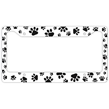 cat or dog license plate frame pawprints cat lover gifts or dog lover gifts kitten puppy - Dog Frame