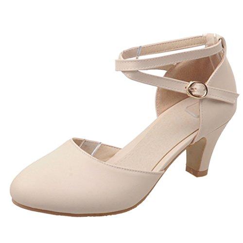 Aiyoumei Femmes Cheville Sangle Kitten Talon Pompes Solides Avec Boucle Chaussures Confortables Beige