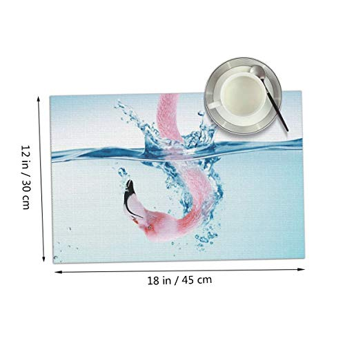 Carmen Belinda A Flamingo with Its Head in The Water Placemats Set of 4 for Dining Table Washable Place Mats for Kitchen/Dinning Table, Home Table Decor Non-Slip Heat Resistant, 12x18 Inches ()