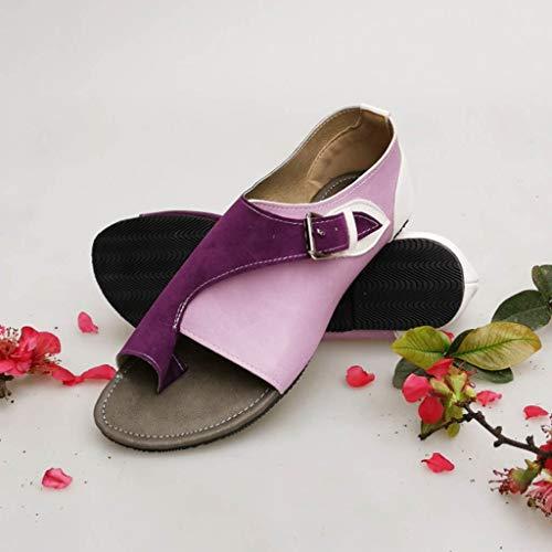 violet Strap D'été Style Boucle Zolimx Loisir Chaussures Sandales Femme Flat Romain Purple Confortable Femmes Femmes Doux Plat Sandale wg6CTq