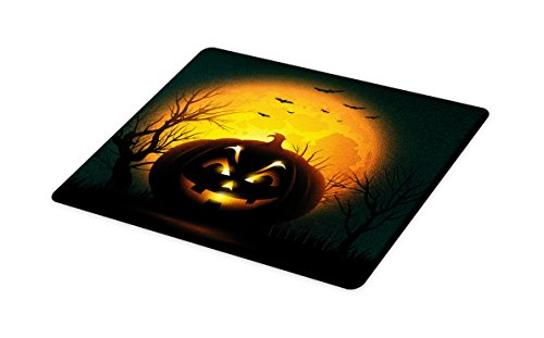 Lunarable Halloween Cutting Board, Fierce Character Evil Face Ominous Aggressive Pumpkin Full Moon Bats, Decorative Tempered Glass Cutting and Serving Board, Small Size, Orange Dark Brown Black