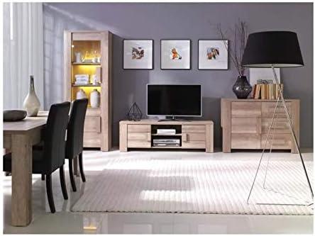 PRICE FACTORY just for you Juego de Muebles de salón Completo Ferrara. Vitrina pequeño Modelo + LED, Mueble para TV, aparador bajo y Mesa Baja: Amazon.es: Hogar
