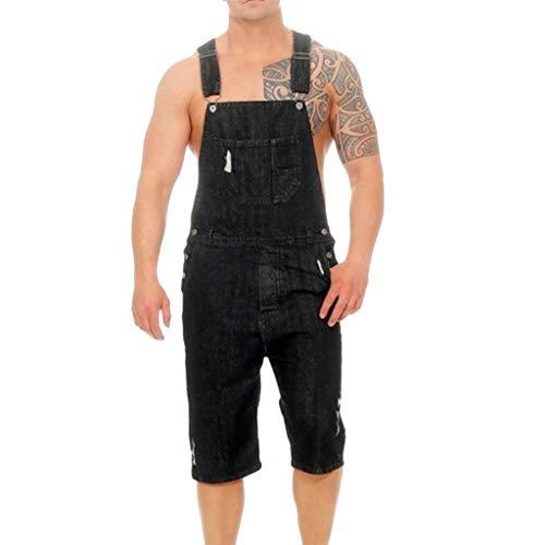 - Fashion Jeans Pants,Men's Overall Casual Jumpsuit Jeans Wash Broken Pocket Trousers Suspender Pants Black