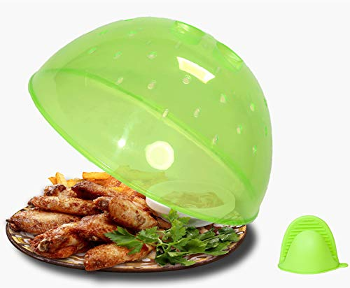 Microwave Plate Cover,clear green Plate Splatter Guard Lid With Multiple Steam Vent Food Cover, BPA Free & 10.5 Inch, Dishwasher Safe-with 1 Mini Cooking Pinch Grip